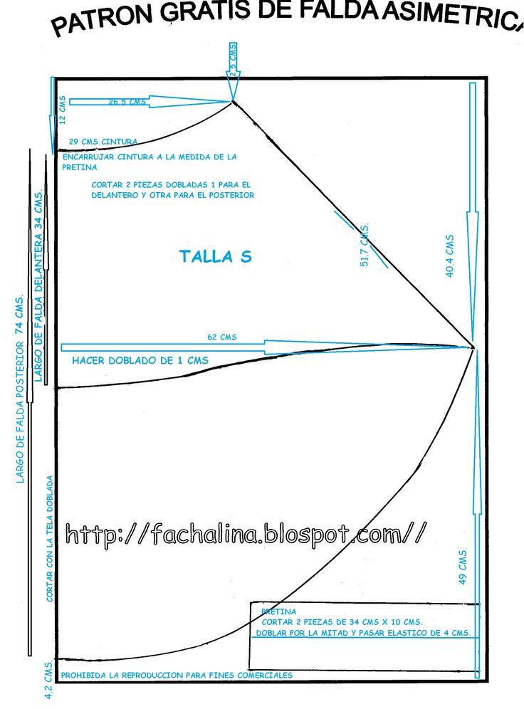 Patrón gratis DE FALDA ASIMETRICA                                                                                                                                                                                 Más