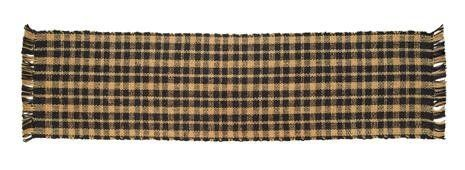 """Black Jute Plaid Runner 8x24"""" by Victorian Heart. $8.95. High end quality and workmanship!. Extensive line of matching items and accessories available! (Search by Collection name). See Product Description below for more details!. All cloth items in our collections are 100% preshrunk cotton. All braided items (like rugs, baskets, etc.) are 100% jute. Product measurements and additional details listed in title and/or Product Description below.. 100% jute, woven ..."""