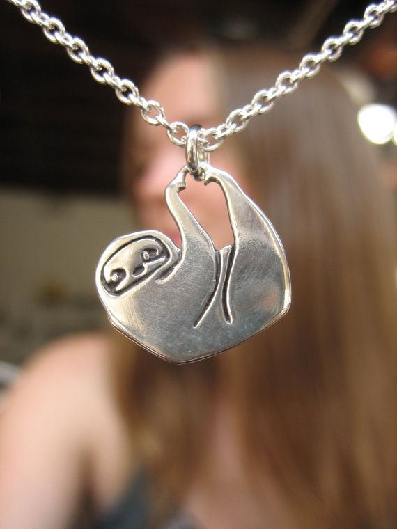 Little Sloth necklace by marmar ( Etsy:: http://www.etsy.com/uk/listing/105980619/little-sloth-necklace )