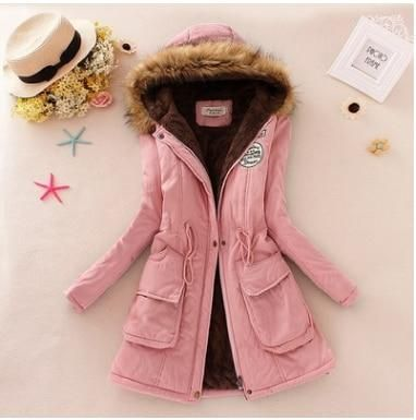 Echoine Faux Fur Coats Women Long Sleeve Hooded Neck Zipper Button Plus Size Casual Female Outwear Warm Down Jacket Thick Parkas