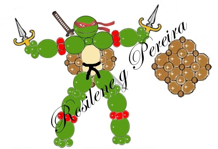 Projeto com balões tartaruga ninja