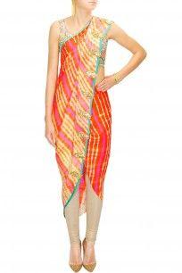 Pink to orange leheriya dhoti wrap sari with mirror embroidered blouse