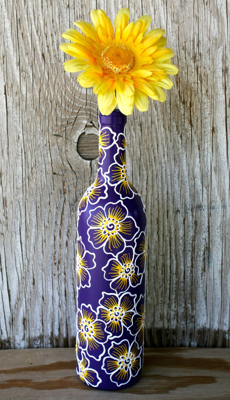 Wine bottle Vase Up Cycled Purple White Ooooooo I feel a decopatch idea coming on