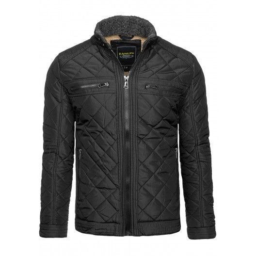 Pánska zimná pešívaná bunda čiernej farby - fashionday.eu