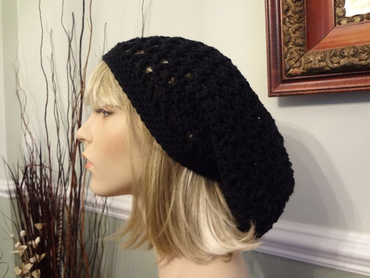 Ebony, Black, Coal Open Weave Slouch, Tam Hat, Snood, Beret.  Great Summer Beach Hat.  Teens, Men or Women can Wear This. by yarnnscents on Etsy