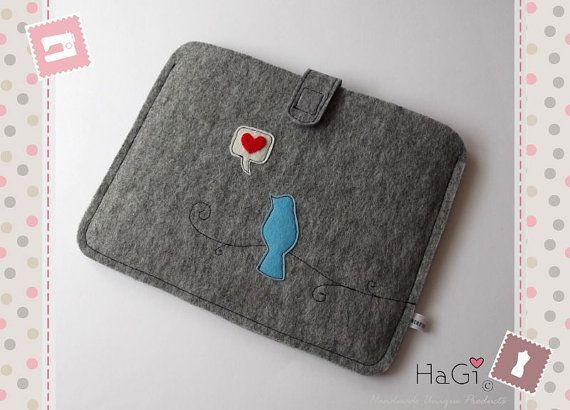 Felt Ipad Case Handmade Tablet-PC Case Lovebird