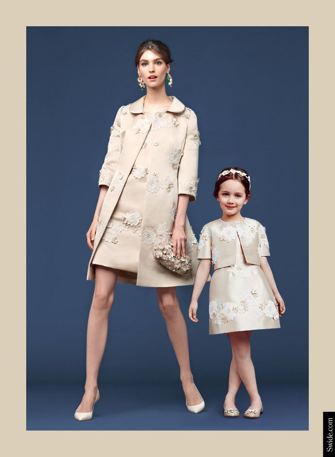 Dolce and Gabbana Fall Winter 2014-15 Mother and Daughter matching dresses ideas: Lace Application Silk Dress and Coat