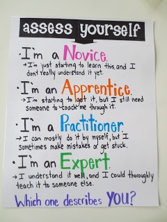 Self Assessment Anchor Chart! Great Exit Activity! Have students write which category they are on a post-it and explain why before they leave the room.