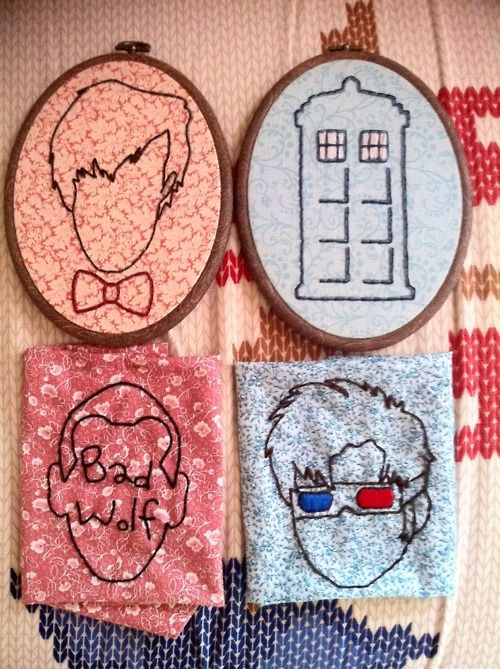 """76totterslane:  This collection is constantly growing. It actually takes me longer to make an outline for each Doctor than it does for me to stitch them. I needed some sort of identifier for Nine since his hair & features are sorta basic, so I went with """"Bad Wolf"""", though I think it looks sorta weird. Maybe I'll come up with a better looking idea for him soon. Also, I've ordered more of those oval frames so all my Who pieces will be uniform hanging on the wall :)"""