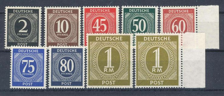 Germany, Joint Issue, Alliierte Besetzung 1946, 1.Kontrollrat (Ziffern), komplette postfrische Studie aller bekannten Y-Wasserzeichen 'steigende statt fallende Buchstaben', mit Mi-Nr. 912Y, 918Y, 931Y, 932Y, 933Y, 934Y, 935Y, 937aY und 937dY, komplett sehr selten, meist BPP-geprüft (postfr.,Mi.-Nr. 912-937 Y, Mi.EUR 2.420,--). Price Estimate (8/2016): 700 EUR.