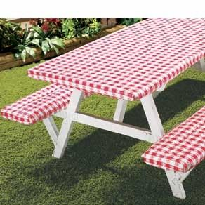 Deluxe Picnic Table Cover Set: Picnic Tables, Camps Stuff, Table Covers, Tables Covers, Picnics Tables, Delux Picnics, Covers Sets, Elastic Picnics, Fit Tables
