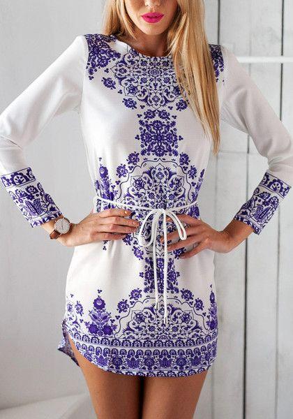 Model in porcelain print shift dress
