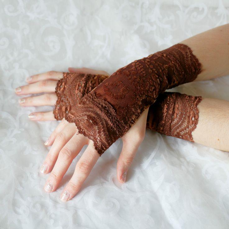 Fingerless gloves brown short velvet armwarmers by AlicesLittleRabbit on Etsy