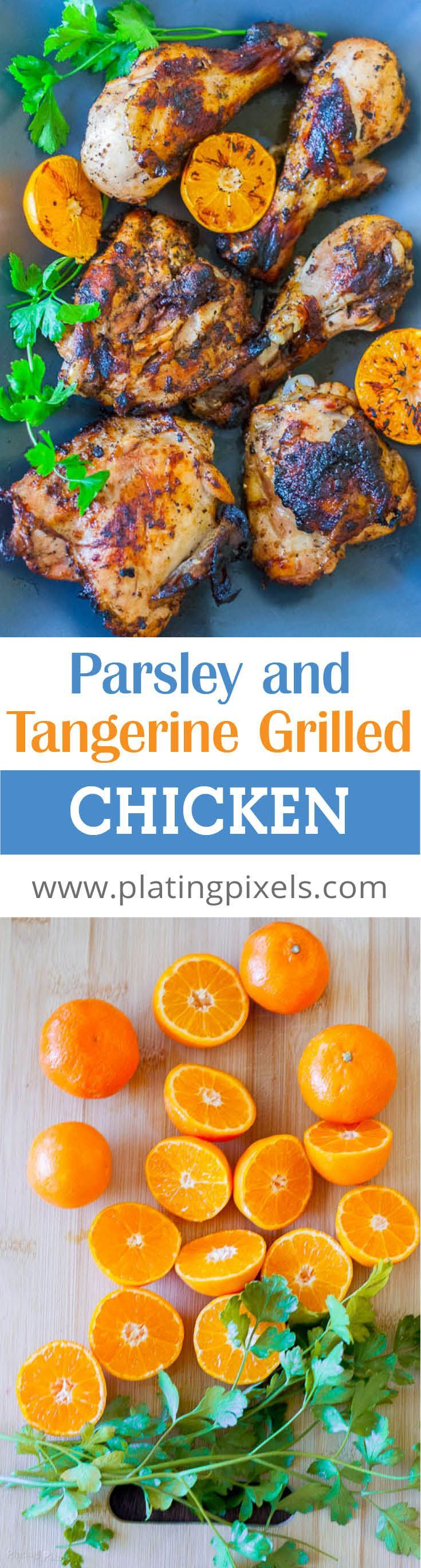Parsley and Tangerine Marinated Grilled Chicken recipe by Plating Pixels. Moist grilled chicken drumsticks and thighs marinated in a sweet and citrusy tangerine marinade. - www.platingpixels.com