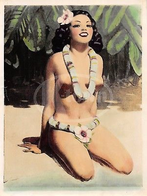 HAWAIIAN ISLAND GIRL VINTAGE WWII GRAPHIC ART RISQUE PIN-UP CARTOON PHOTOGRAPH