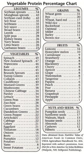 Vegetable protein percentage chart, this would come in handy when planning meals for more protein-rich vegan diet