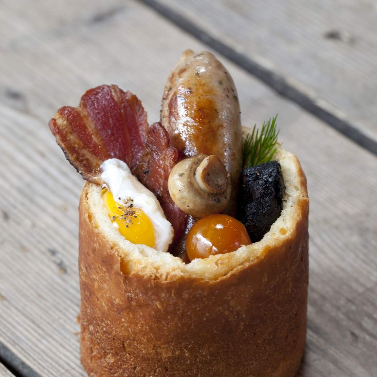 Bunnychow Soho What you're getting: Full English Bunny Horizontally shaped breakfasts will soon be a thing of the past, thanks this South African food stall. It starts out with a cylindrical-shaped mini loaf (we recommend brioche), which is then hollowed out and crammed with sausage, house-cured bacon, button mushrooms, bobotie baked beans, tomato, fried egg, and house-made black pudding. For under a £5, it's pretty much the best way to start your day