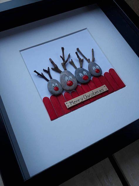 Christmas Pebble Picture Reindeer Pebble art Family gift