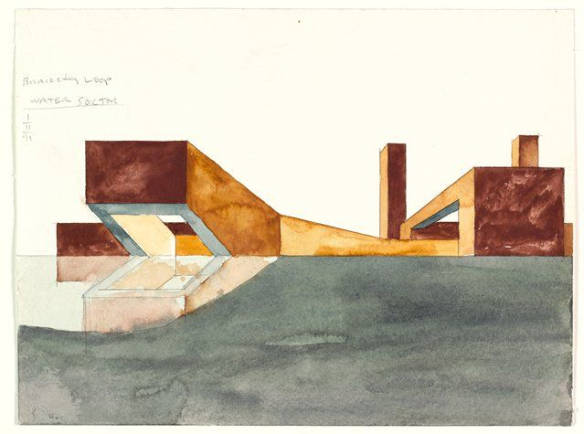 Steven Holl, Edge of a City: Spiroid Sectors, Dallas/Fort Worth, Texas, 1991; architectural drawing; watercolor on paper, 9 1/16 in. x 12 in. (23 cm x 30.5 cm); Collection SFMOMA, Accessions Committee Fund purchase; © Steven Holl
