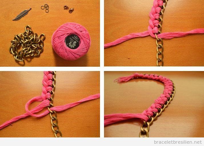 Tutoriel pas à pas, bracelet realisé avec une chaine et fil tressé