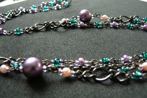 beads and chains,long necklace, Seemoon