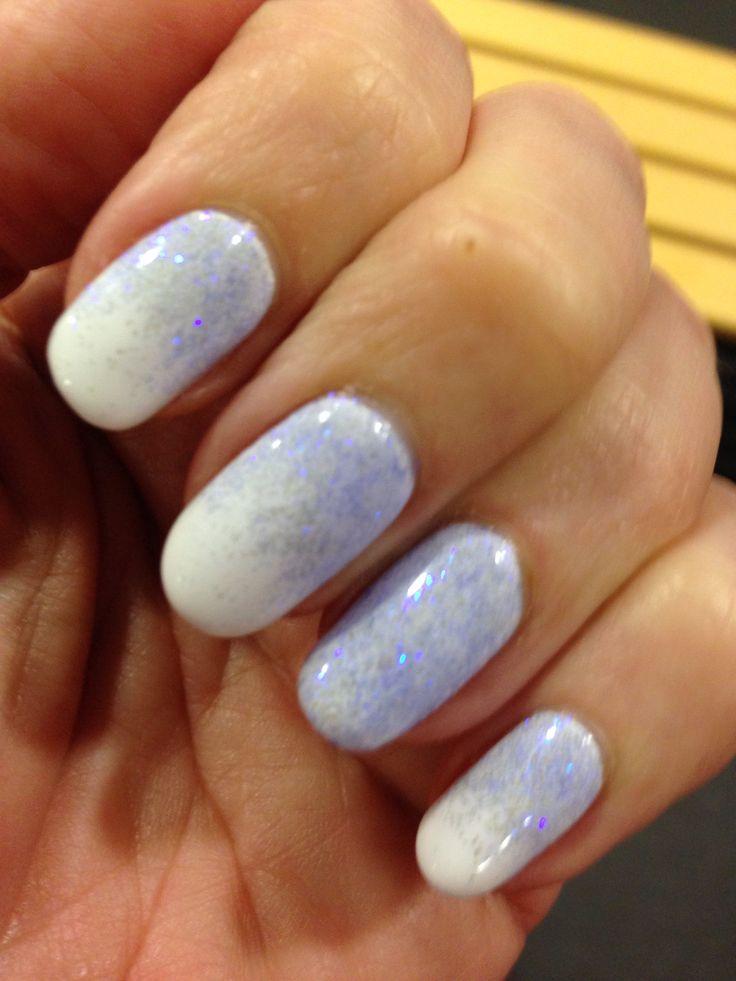 Blue glitter on white #jurenbeauty #glitter nails