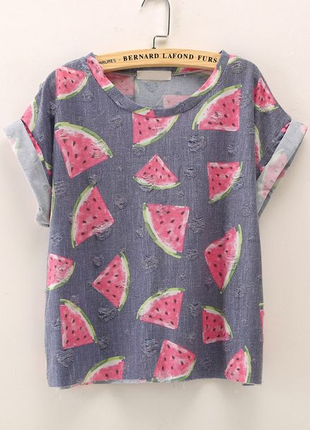 Shop Blue Short Sleeve Watermelon Print T-Shirt online. Sheinside offers Blue Short Sleeve Watermelon Print T-Shirt & more to fit your fashionable needs. Free Shipping Worldwide!