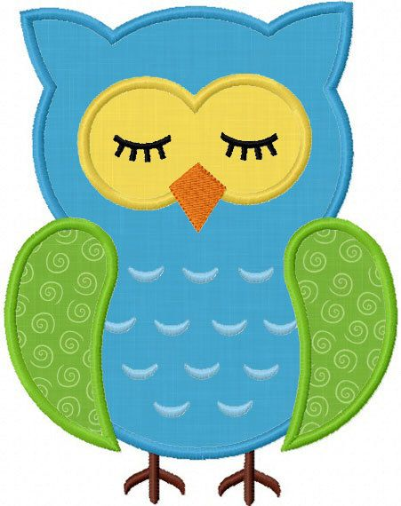 Instant Download Sleep owl Applique Machine embroidery Design NO:1146