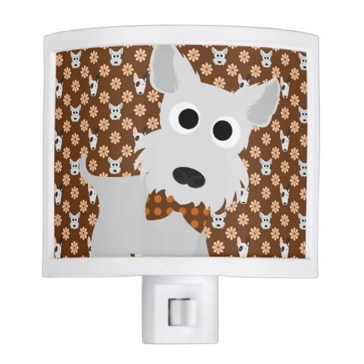 Dogs and Flowers Brown Night Light