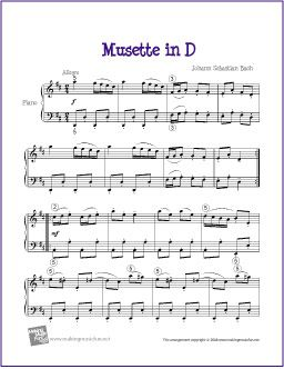 Musette in D (Bach) | Free Sheet Music for Piano - http://makingmusicfun.net/htm/f_printit_free_printable_sheet_music/musette-in-d-intermediate.htm
