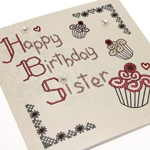 Handmade Homespun Stitched Birthday Card Sister - Cupcakes - 'Happy Birthday Sister'. Buy Here ...