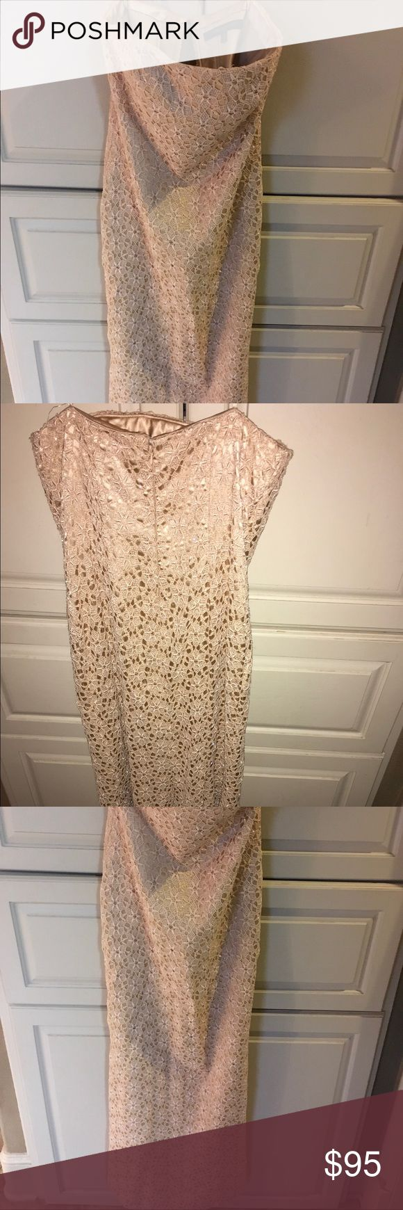 NWT NEIMANS CARMEN MARC VALVO LACE BEADED GOWN NWT NEIMAN MARCUS Long formal gown with mermaid back train. Strapless Carmen Marc Valvo Dresses Strapless