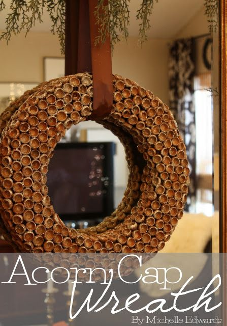 How to make a glittered, acorn cap wreath. WW teachers need to make smaller versions of this with kids since they love to pickup acorns!!