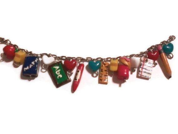 Back To School Themed Charm Bracelet, School Charms, Polymer clay charms, Teacher Gift, Teacher Charm Bracelet, Classroom jewelry. $12.50, via Etsy.