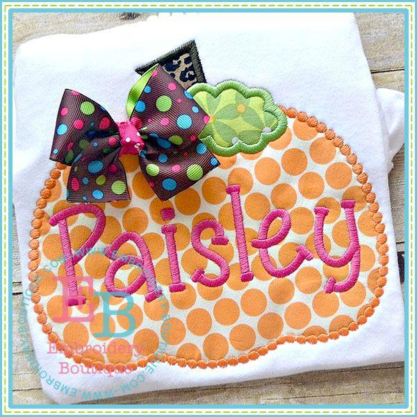 Dotted Pumpkin Applique | embroidery-boutique.com
