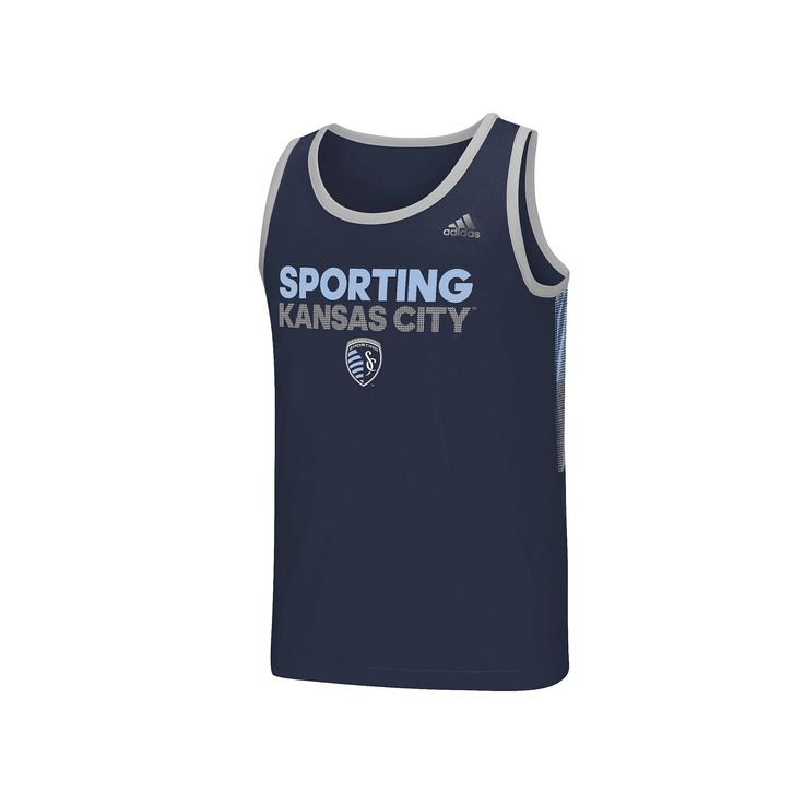 Men's Adidas Sporting Kansas City Finish Fan Wear Tank Top, Size: Medium, Blue Other