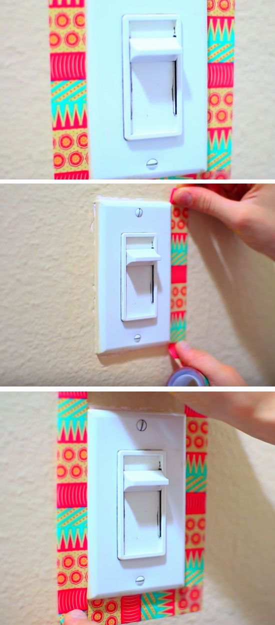 Washi Tape Light Switch | 18 DIY Summer Tumblr Room Decor Ideas that are insanely cute!