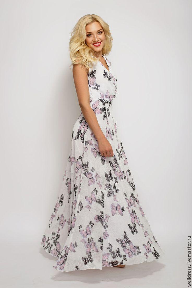 Купить Платье белое с бабочками - белый, орнамент, белое платье, бабочка, бабочки, Платье нарядное