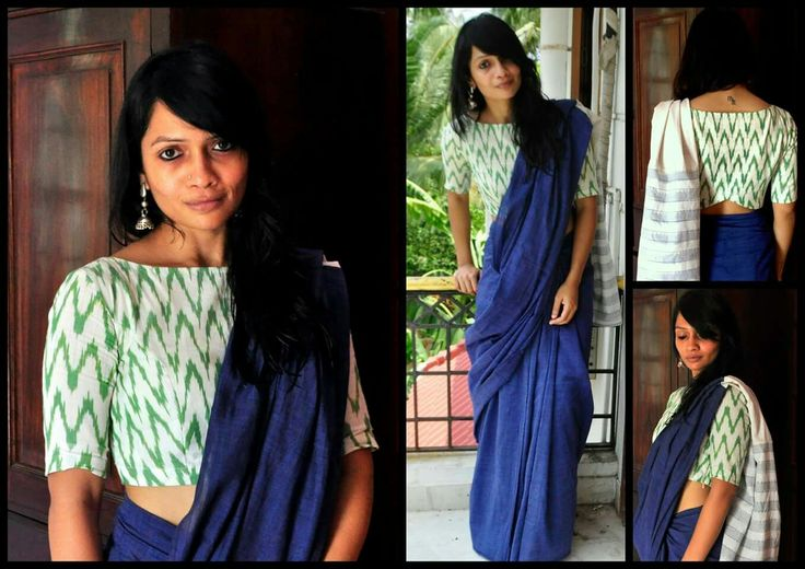 Chevron Green and white with navy blue cotton saree