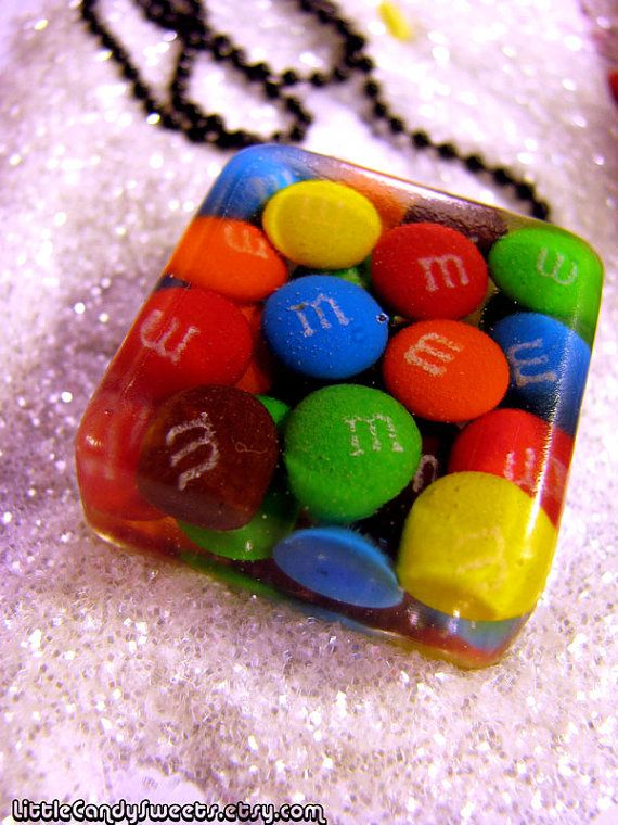 Real Candy M Minis chocolate candy resin necklace by littlecandysweets