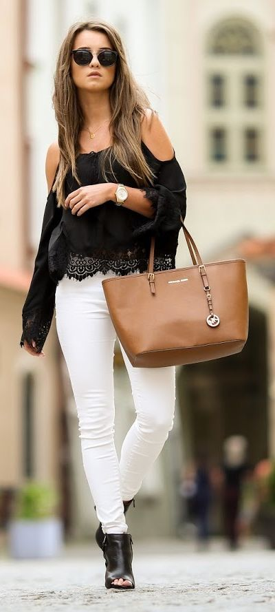 Black Lace And White Pants I love de blouse but I would wear it with other shoes