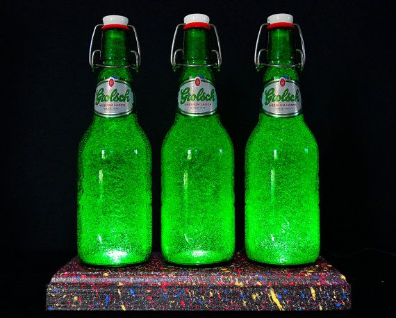 Grolsch Beer Bottle Lamp With Textured by DiamondLiquorLights
