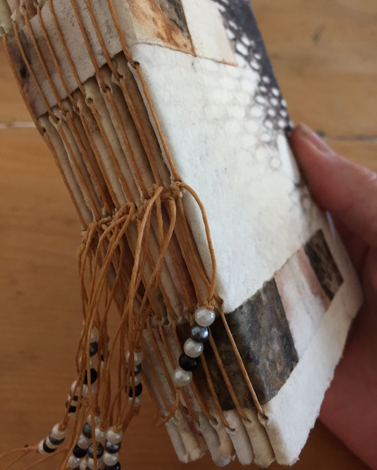 Hand bound eco printed book by Rita Summers