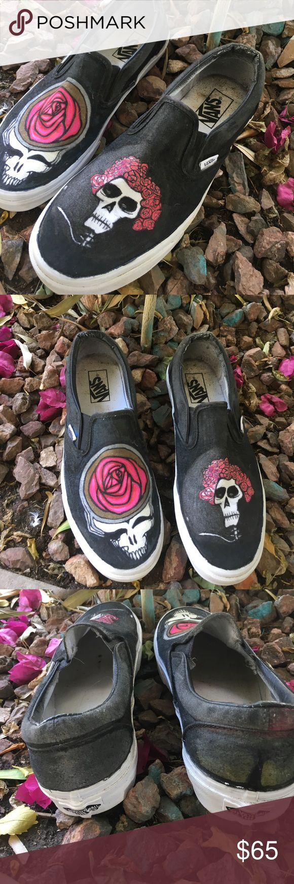 Custom Grateful Dead steal your face vans size 9 Selling men's handmade size 9 Grateful Dead paint maker and hand drawn oil based paint (waterproof) Vans shoes ! Enjoy feel free to ask any questions Vans Shoes Sneakers
