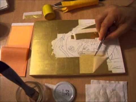 Poleire icoana cu bolos(gilding orthodox icon) - YouTube