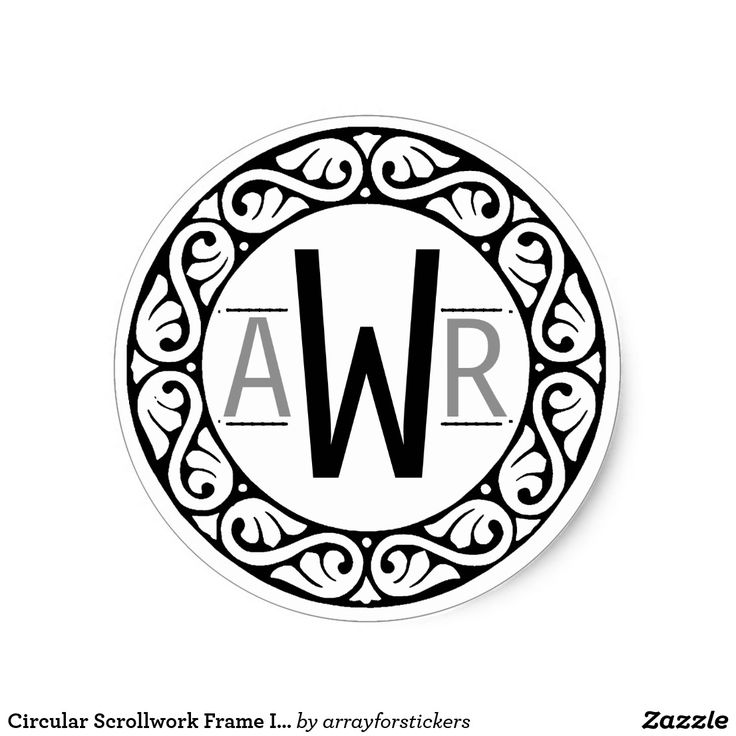 Circular Scrollwork Frame Initials B&W Classic Round Sticker The black, circular scrollwork frame of this sticker provides an elegant setting for three initials on the background color of your choice. Use the provided template to add your initials as shown.