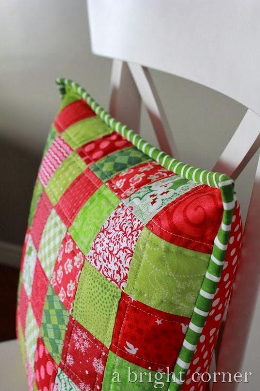 Cute Christmas patchwork pillow!