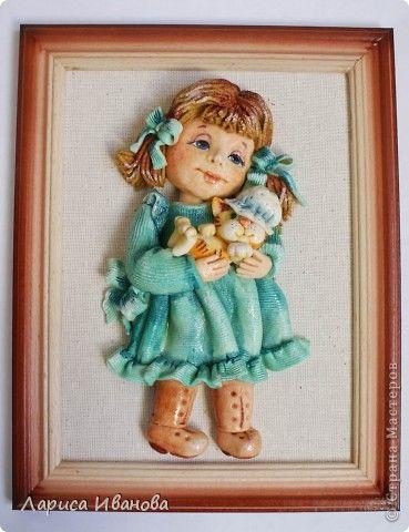 Картина панно рисунок Лепка Роспись Девочки из теста  Акварель Гуашь Тесто соленое фото 2