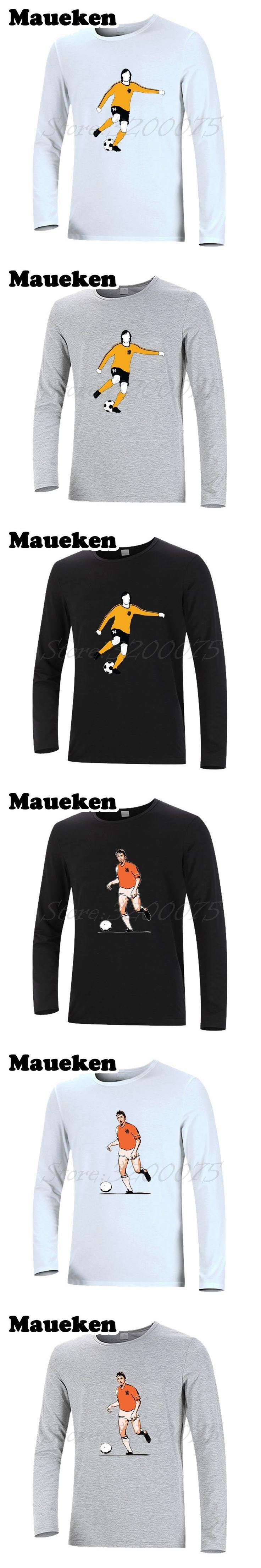 Long Sleeve Men T-Shirt Johan Cruyff 14 Netherlands Holland flyer barcelona godfather Legend T Shirt Autumn Winter W17100717