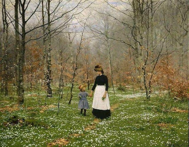 'Springtime. The First Anemones' Hans Anderson Brendekilde (1857-1942) Danish Painter